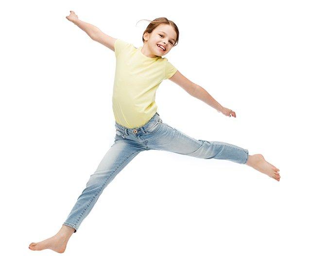 tween girl jumping isolated