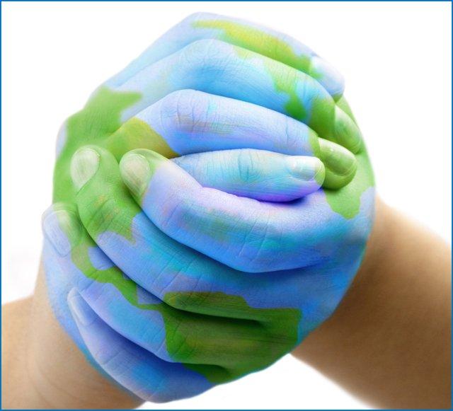 hands painted like globe
