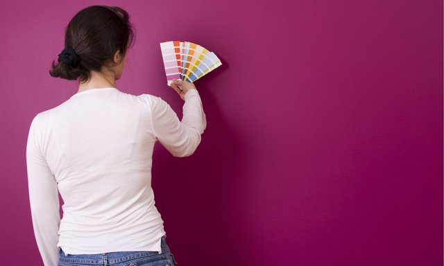 woman with paint chips