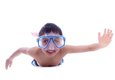 boy swimming with snorkel