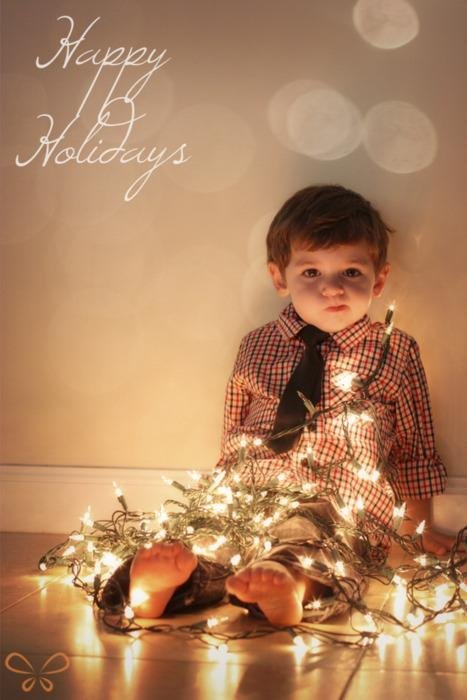 Tangled in lights Xmas photo