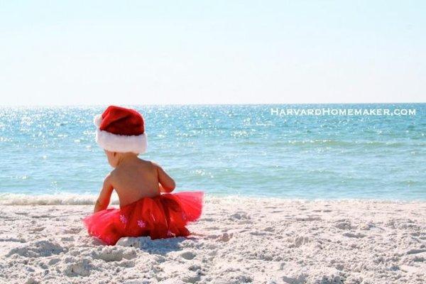 Baby on Beach Christmas Photo