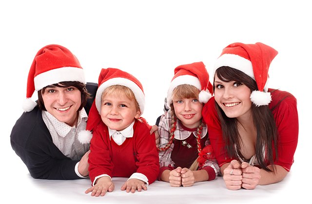 family in Santa hats