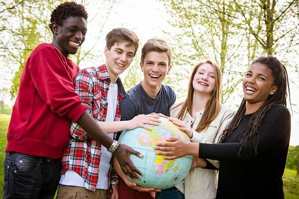 teens with globe