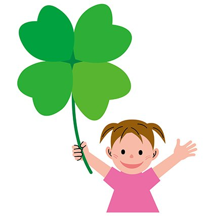 girl with shamrock illustration
