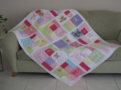 Quilt made from baby's clothing