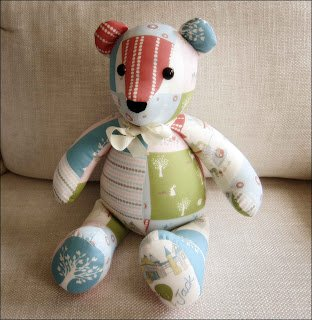 Stuffed bear made from baby's clothing