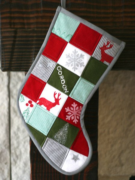 Christmas stocking made from baby's clothing