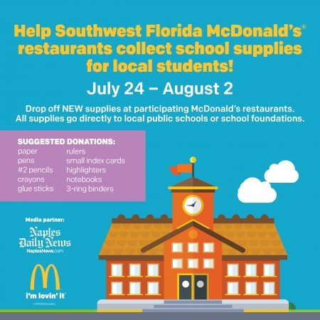 McDonald's school supply drive