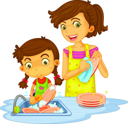 Mother and daughter doing dishes illustration