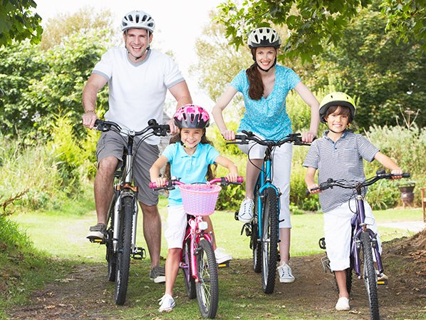 Family riding on bikes
