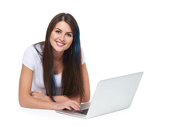 adult student on computer