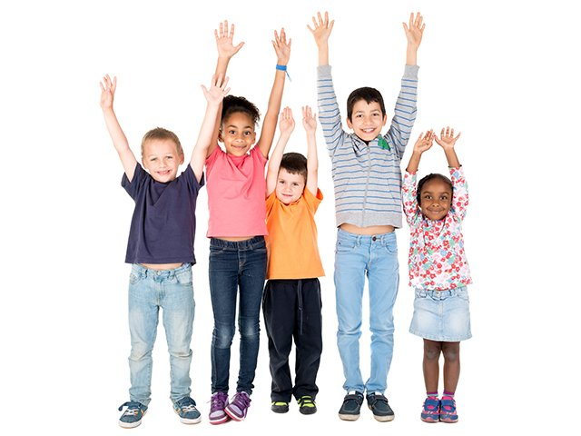 happy kids with arms up