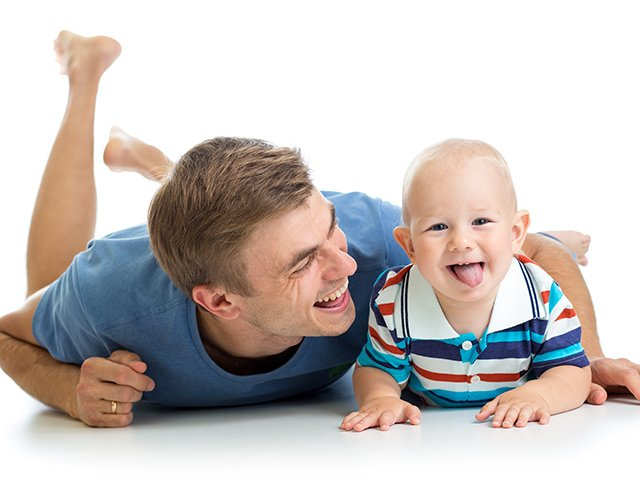 Father with son on floor