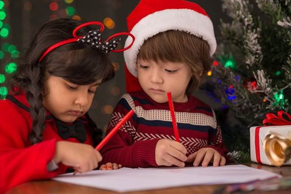Kids writing letters to Santa