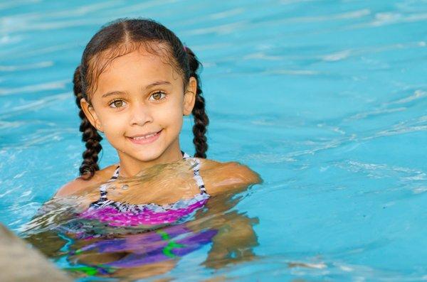 Girl in Pool Braids