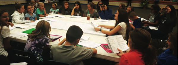 The cast of a Children for the Arts' production reads through a script