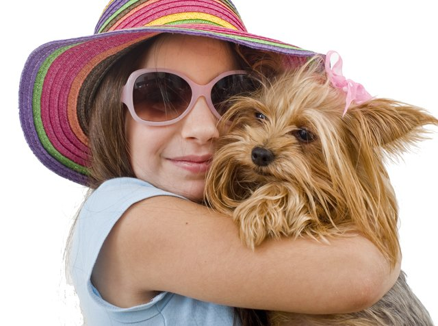 tween girl with dog