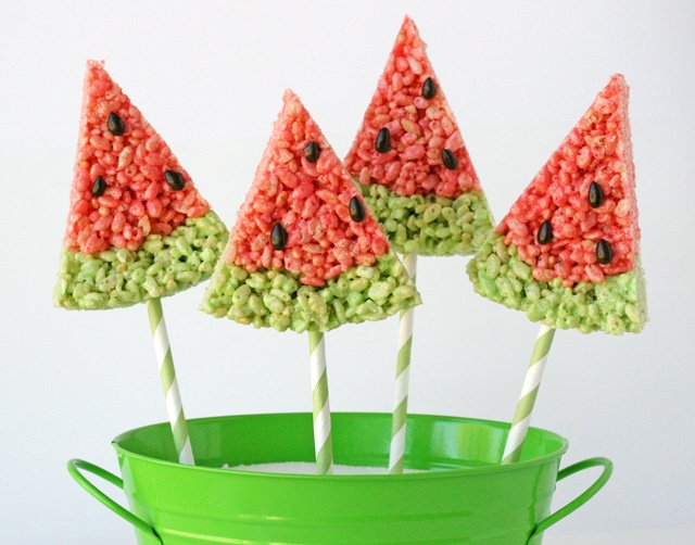 watermelon krispie treats