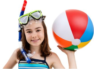 girl holding beach ball