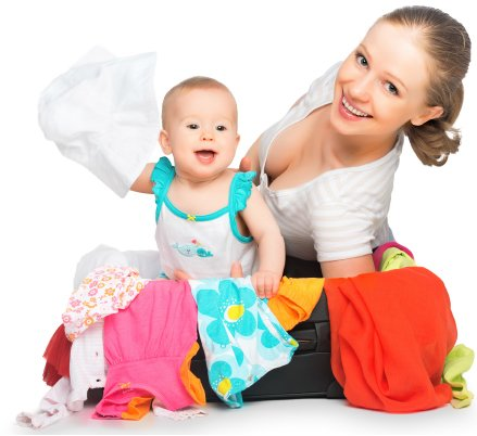 mom with baby in suitcase