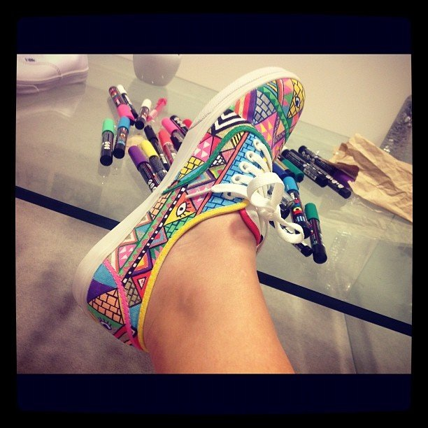 decorated sneakers