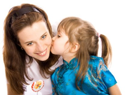 daughter kissing mother