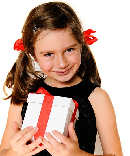 cute girl with red box