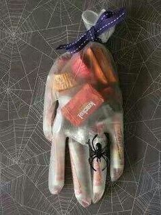 halloween hands with candy