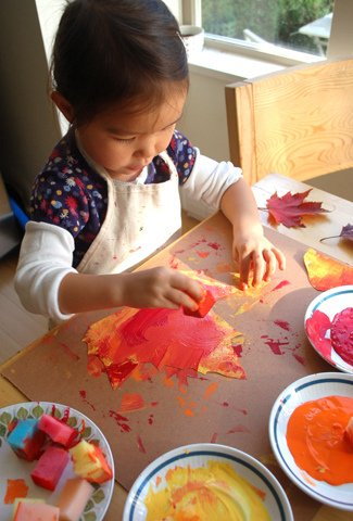 3. painted autumn leaves