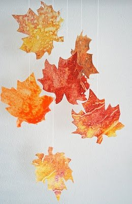 10. stained glass waxed paper leaves