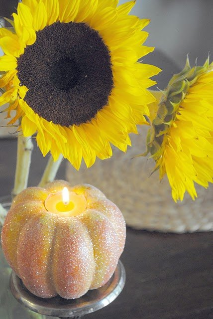 glitter pumpkin candle holders