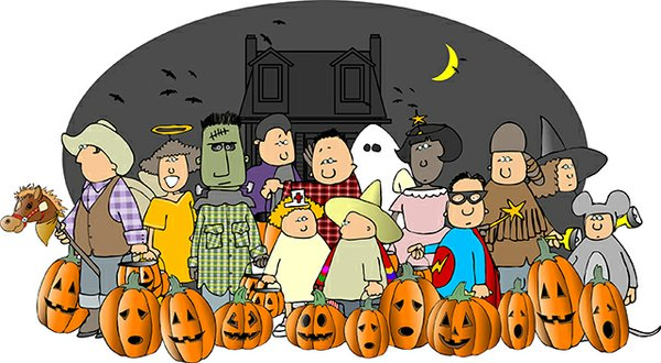 halloween ghosts and trick or treaters illustration