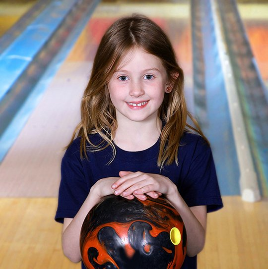 girl with bowling ball
