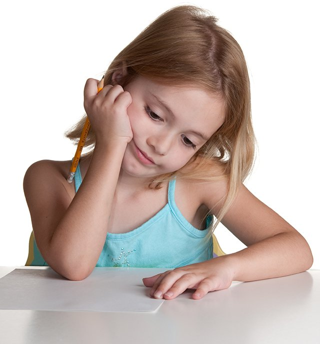 girl doing homework pensive