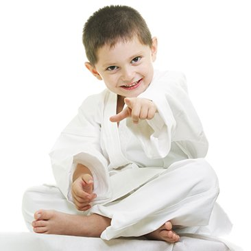 karate boy pointing