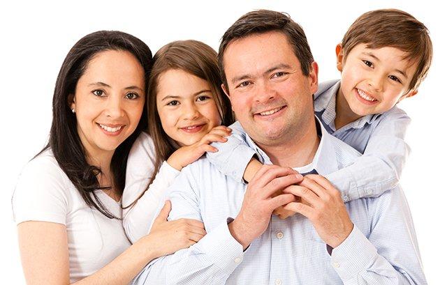 happy family of 4 isolated
