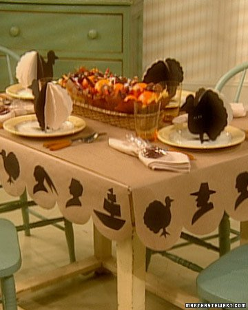 silhouette table covering for Thanksgiving