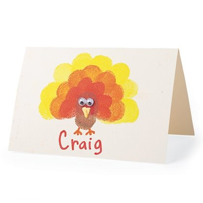 finger stamp place cards for Thanksgiving