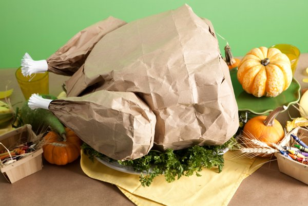 paper bag turkey centerpiece for Thanksgiving