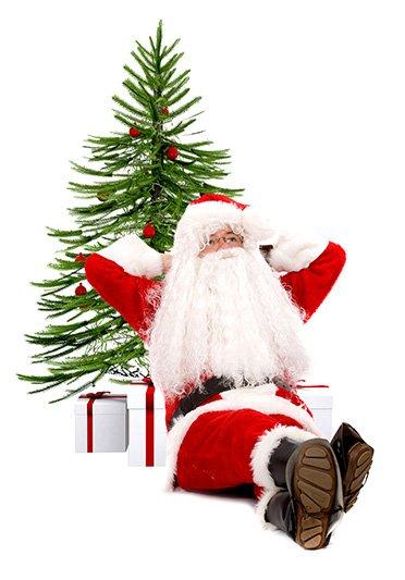 santa leaning on tree