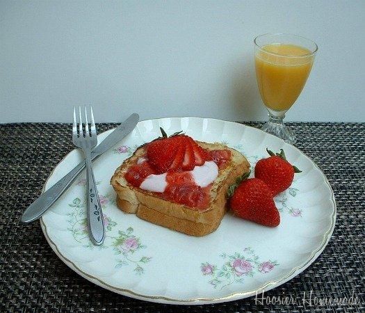 Valentine's Day Strawberry Stuffed French Toast