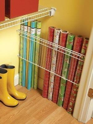 Closet Shelf Used For Wrapping Paper Storage