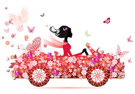 illustration woman in flowered car