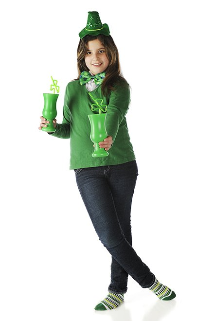 girl with St. Patrick's Day drink