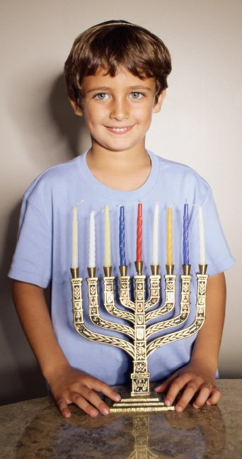 boy with menorah