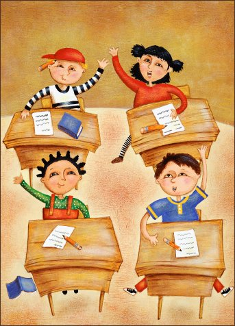 students in classroom illustration