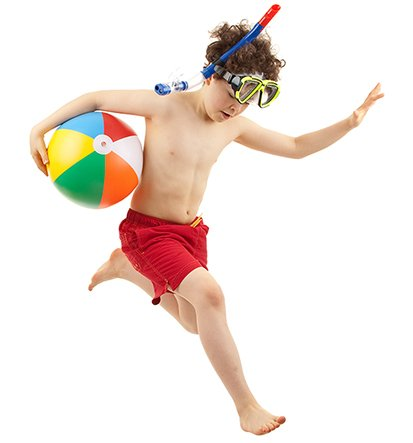 boy with swim gear